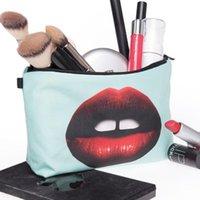 Tasarımlar Seksi Dudaklar kadın Kozmetik Makyaj Çantası Kalem Ofis Organizatör Için Küçük Şeyler Için Maskeleri Kaydet Mobil Çanta Fermuar Çanta