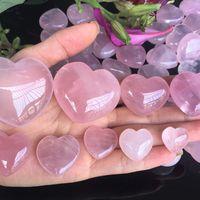 Natural Rose Gift Quartz Heart Shaped Pink Crystal Carved Palm Love Healing Gemstone Lover Gife Stone Gems