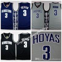 Georgetown Hoyas College 3 Allen Iverson Jersey University Tean Black Blue Grey Allen Iverson Basketball Jerseys Shirt Uniforme En stock