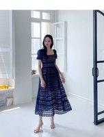 2021 design de moda verão mulheres oca out lace quadrado colarinho sopro manga curta alta cintura maxi longa grande expansão vestido pista vestidos smlxl