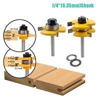 """6.35mm (1/4 """") Groove de língua Montagem da junta Router Bit 3/4"""" estoque Ferramenta de cortador de moagem de madeira para madeira JKXB2103"""