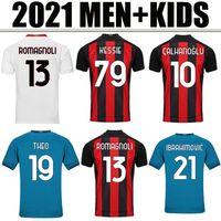 2021AC Milano Home Soccer Jersey Ibrahimovic Brahim Tonali Theo Bennacer Rebic Leao Away Camicia calcio Calhanoglu Saelmaekers Man + Kid Kit