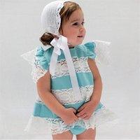 2021 아기 옷 봄 여름 소녀 의류는 레이스 패치 워크 비행 슬리브 티셔츠 + 반바지 PP 바지 두 조각 의상 H23N1VU