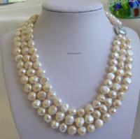 9-11mm vit tre lager naturliga pärl pärlhalsband 17inch 18inch 1925 silverlås Kvinnors present smycken