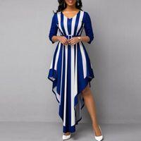 Casual Dresses Summer Women Plus Size High Waist Stripe Print V Neck Dress Elegant 3 4 Sleeve Irregular Hem Maxi For Wedding