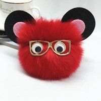 Keychains Fashion Eyeglass Cat Ear Fur Ball Keychain Imitated Pom Plush Key Chain Keyring Men Women Jewelry EH435