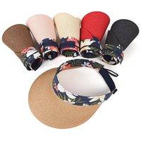 Amplia sombreros de ala Impresión COLLPELSIBLES PROTECCIÓN DE SOLO SOL al aire libre Vacío Sombrero Top Ajustable Mujeres Sombreado Paja Visor Cap