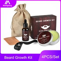 4pcs Beard Growth Oil Kit Derma Roller 540 Titanium 0.25mm Mustache Balm Comb for Men Micro Needle Mezoroller Dermaroller Serum
