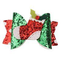 Lindos accesorios de brillo clips de pelo nuevo estilo brillo santa rojo colores horquilla pequeña navidad impresión pelo arcos para niños Festival