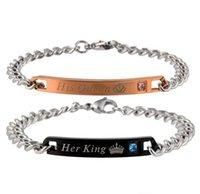 Stainless Steel Couple Link Bracelets For Women Men His Queen Her King Lover Charm Bracelet Bangles Beauty Beast Designer Jewelry