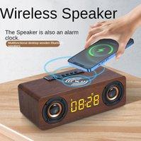 Bluetooth de madera Reloj de altavoz de carga inalámbrica al aire libre portátil retro sonido dual bocina Alarmaudio LED relojes de escritorio Altavoces