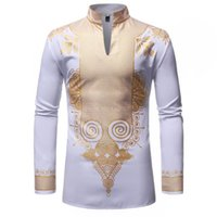 قمصان الرجال الملابس الأفريقية أفريقيا dashiki طباعة بدلة طويلة الأكمام الغنية بازان النسيج الخامس الرقبة القطن عارضة قمم الدانتيل أزياء رداء