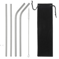 8.5 Inches Eco Friendly Reusable Straw Stainless Steel Straw Metal Smoothies Drinking Straws Set with Brush Bag BWB10506
