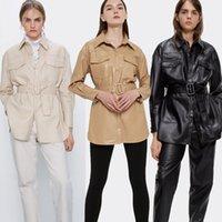 2021 Nouvelle automne PU vestes vintage en similicuir en similicuir Slim Manteau Casual manches longues Casquettes de moto Jacket de moto ZBRD