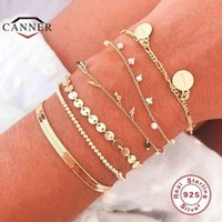 CANNER 2020 925 Sterling Silver Disc For Women INS Extremely Simple Bracelet Fine Jewelry pulseras