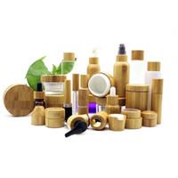 5 pcs 5g 10g 15g 30g 50g Scrub Scruble Garrafa de creme de vidro creme de olho máscara vazia jar Bamboo tampa de bambu lid recipiente de cuidados com a pele