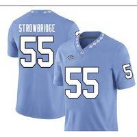 Benutzerdefinierte blaue weiße UNC Tarheels Jason Rowbridge # 55 Real Full Stickerei College Jersey Größe S-4XL oder benutzerdefinierte Name oder Nummer Jersey