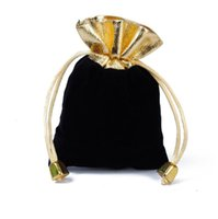 Pouches, Packaging & Display Jewelry100Pcs Lot Black 7X9Cm 9X12Cm Veet Beaded Pouches Jewelry Gift Pouch Dstring Bags For Wedding Favors Dro