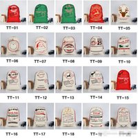 Фондовый холст Рождество Santas Bag Bag Cardstring Candy Claus Bags Xmas Pired Santa Sacks для украшения фестиваля
