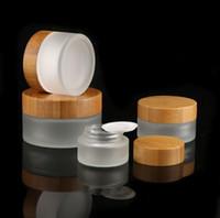 Bougies de bougie en verre givré respectueux de l'environnement avec couvercle en bois 5g 15g 30g 50g Crème à crème hermétique à l'air Bamboo Couvercle en gros SN5204