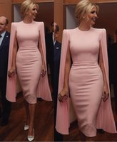 Arabic Short Pink Mother Of The Bride Dresses 2021 Cape Sleeve Tea Length Simple Satin Wrap Sheath Wedding Guest Dress Prom Evening Gowns