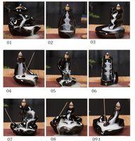 Cerâmica Esmalte Cachoeira Backflow Incenso Burner Censador Titular Cones Casa Decoração 24 Estilo Incenso Cones Burner Stick HWD9922