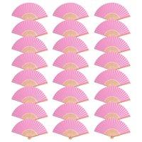 24pcsdiy folding paper ventilatore palmare ventilatore di bambù, adatto per matrimoni / banchetti / decorazioni per banchetti (rosa)