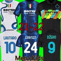 Inter 21 22 كرة القدم الفانيلة ميلان دزيكو أطقم أطقم باريلا Lautaro eriksen eriksen errikis calhanoglu perisic 2021 2022 الثالث قميص كرة القدم الرجال + أطفال مجموعة موحدة