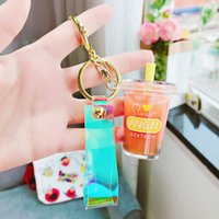 colorful keychain Pearl milk tea key chain Party Favor creative cute net red tide language cartoon keychains student unzip toy RRD7728