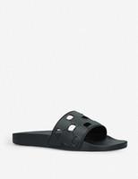 Mens Dames Unisex Zwart Uitsnede Rubber Sliders Luxe Zwembad Appartement Slippers met Designer-Gestempeld Zool EURO 35-46