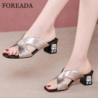FOREADA NATURAL Cuero genuino mujer zapatillas de cristal tacones altos tacones gruesos sandalias de tacón cuadrado toboganes Casual dama zapatos sliver k0wf #