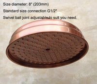 Antique Red Copper Round 8 Rainfall Shower Head Extension Pipe Wall Arm Shower Arm Bathroom Accessory (Standard 1 2) Nsh100