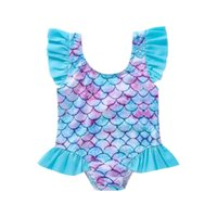 One-Pieces Infant Summer Ruffle Swimsuit Baby Girls Sunflower Fish Scale Print Sleeve U-shaped Neck Swimwear
