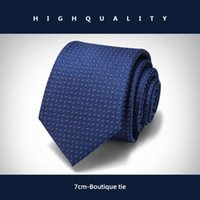 Bow Ties Luxury 7 CM Blue Jacquard Tie Brand Designer For Men High Quality Business Dress Shirt Necktie Male Accessories Gift