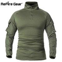 Refire Gear Hombres Ejército Camisa Táctica Swat Soldados Militar Combate Camiseta Manga larga Camuflaje Paintball T Shirts 5XL