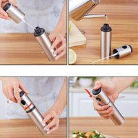 Silver Stainless Steel Oil Sprayer Tool Olive Pump Spraying Bottle Can Jar Pot easy to use 100pcs