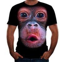 Animal Série Homens Impressão 3D Camiseta Graphic Óptica Ilusão de Orangotango Manga Curta Parte Tops Streetwear Punk Gótico Redondo Pescoço Verão
