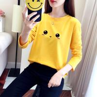 Gelbes langarm T-Shirt Koreanische Version Lose Neue Frühling und Herbst Beliebte Unterhose Damen Tuch Student Trend