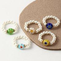 Cluster Rings Ghidbk 5 stücke farbige glaze blume nachahmung perlen für frauen sommer strand böhmischen perlen bunte ring personalied schmuck