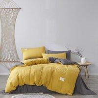 Bedding Sets 100% Cotton Soild Color Comforter Simple Bedroom Set King Queen Size AB Doulbe Side