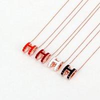 Modeschmuck Große Schwarzweiß-rot-orange Emaille H-Anhänger Halskette Trendy All-Match-Schlüsselbeinkette