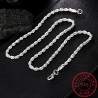 Meekcat 925 sterling silber 16.12.201.22/24 Zoll 4mm Twisted Seilkette Halskette für Frauen Mann Mode Hochzeit Charme Schmuck