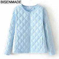 BISENMADE Autumn Winter Women Coats Fashion Solid Short Parka Slim Zipper Lightweight Oversize Female Jacket 210204