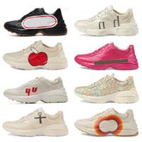 2021 ظهره خمر جلد حذاء الرجال مصمم الأحذية النسائية عارضة السيدات الكلاسيكية الجلود الأبيض سميكة وحيد خمر مدرب أبي الأحذية