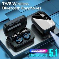 M9 Wireless Earphone BT 5.0 TWS Mini Bluetooth Earphones Headphones Buetooth Earbuds Noise Cancel LED Display With Charging Box Flashlight