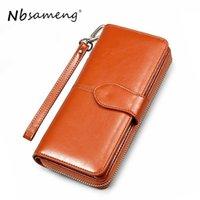 Wallets NBSAMENG Women Long Wallet Card Coin Holder Money Clip Clutch Wristlet Trifold Zipper Cash Purse