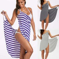 Sexy Womens Striped Swimwear Beach Cover Up Wrap Sarong Sling Skirt Maxi Dress
