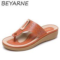 BEYARNE 2021Comfortable Summer Women Flip Flops Casual Anti-Slip Slippers Beach Flat Open Toe Shoes for Ladies Zapatos De Mujer