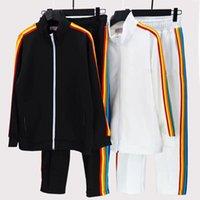 Erkek Tasarımcı Casual Eşofmanlar 21ss İlkbahar ve Sonbahar Gevşek Çift Kıyafet Otantik Melek Gökkuşağı Çizgili Üst + Pantolon. Boyutu m-xxl