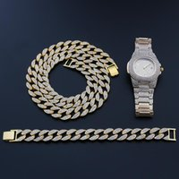 Chains Necklace+Watch+Bracelet Hip Hop Cuban Chain Alloy Gold Color Iced Out Paved Rhinestones CZ Bling Rapper Wedding Jewelry For Men